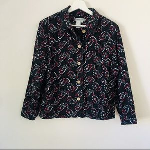 Coldwater Creek Embroidered Denim Button Down PXL